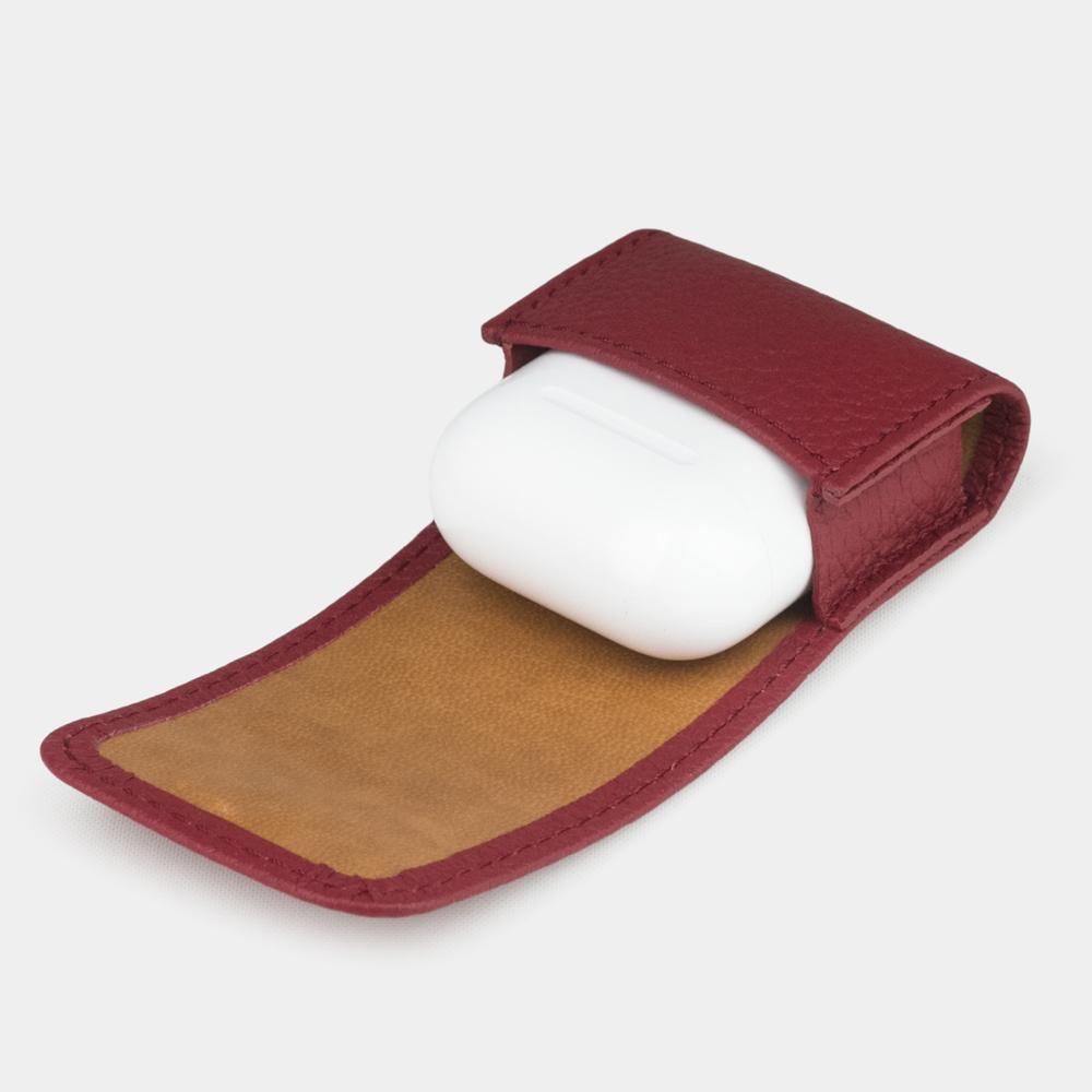 Чехол-держатель для наушников Petit Easy из натуральной кожи теленка, вишневого цвета