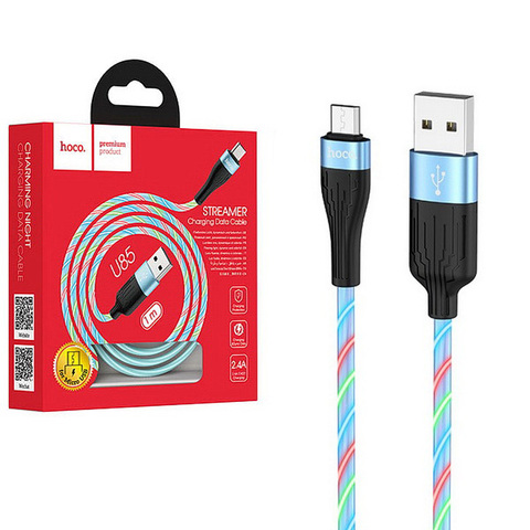 Кабель microUSB HOCO U85 Charming Night, 1m, 2.4A, blue