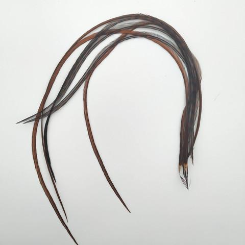 Перья петуха в волосы 25-35 см. 6 шт. (коричневый)
