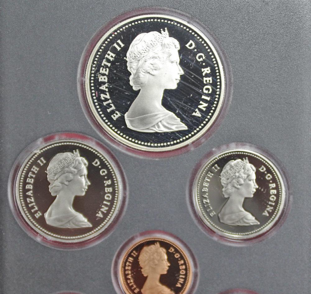 Набор монет Канады 1981 год, в кожаном футляре (Серебро, никель, бронза). PROOF