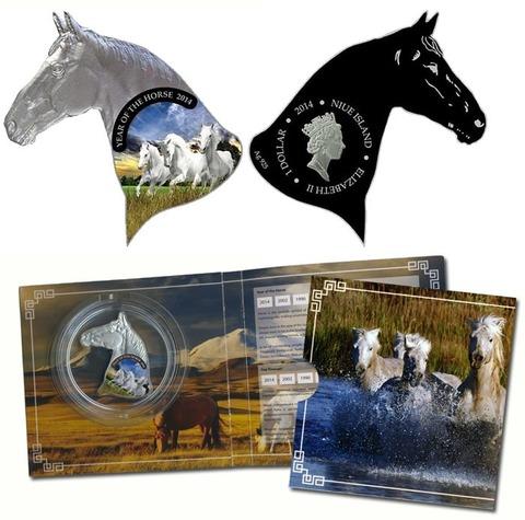 1 доллар. Год лошади. Тройка лошадей. Ниуэ. 2014 год. Серебро. В буклете