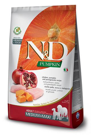 Farmina N&D Pumpkin Adult Medium & Maxi беззерновой с курицей, тыквой и гранатом 12 кг