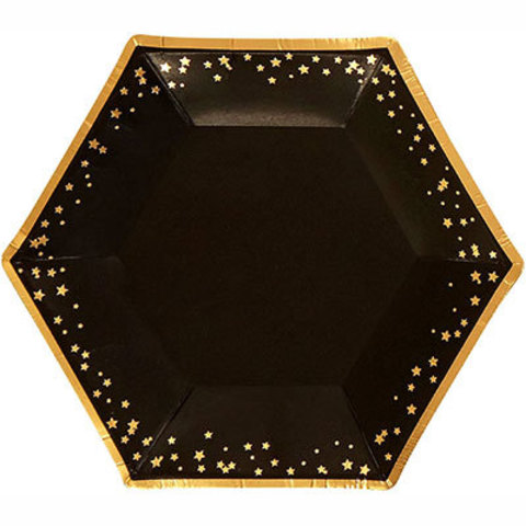 Тарелки малые Гламур Black&Gold, 8 штук