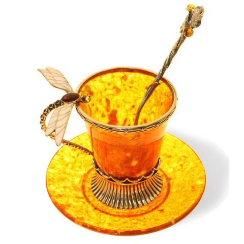 Кофейная чашка «Стрекоза» из янтаря с ложечкой