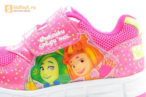 Светящиеся кроссовки для девочек Фиксики на липучках, цвет фуксия, мигает картинка сбоку. Изображение 12 из 15.