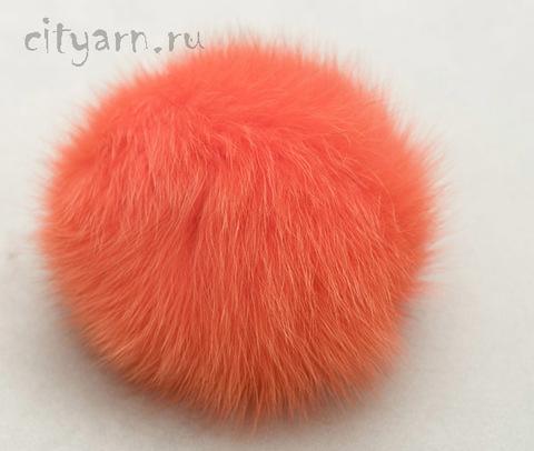 Помпон из меха песца, сочный оранжево-розовый, 13 см