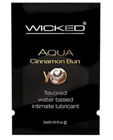 Лубрикант WICKED AQUA Cinnamon Bun с ароматом булочки с корицей - 3 мл.