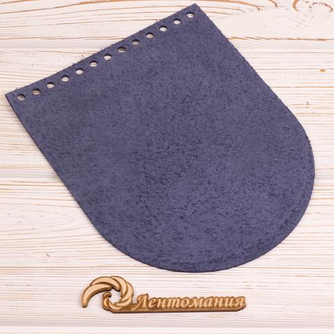 """Клапан для сумочки кожаный """"Синий"""" 15,5*19,5 см"""