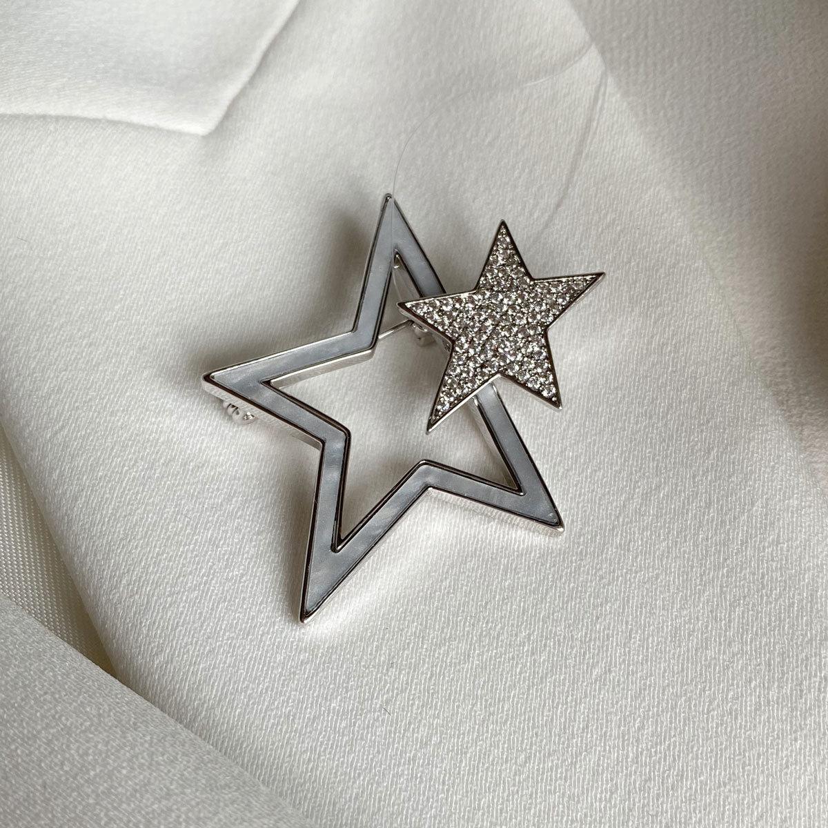 Брошь Циркон Две Звезды
