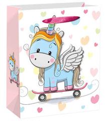 Dream cards Пакет подарочный Единорог на скейте 18х23х10 см, 1 шт.