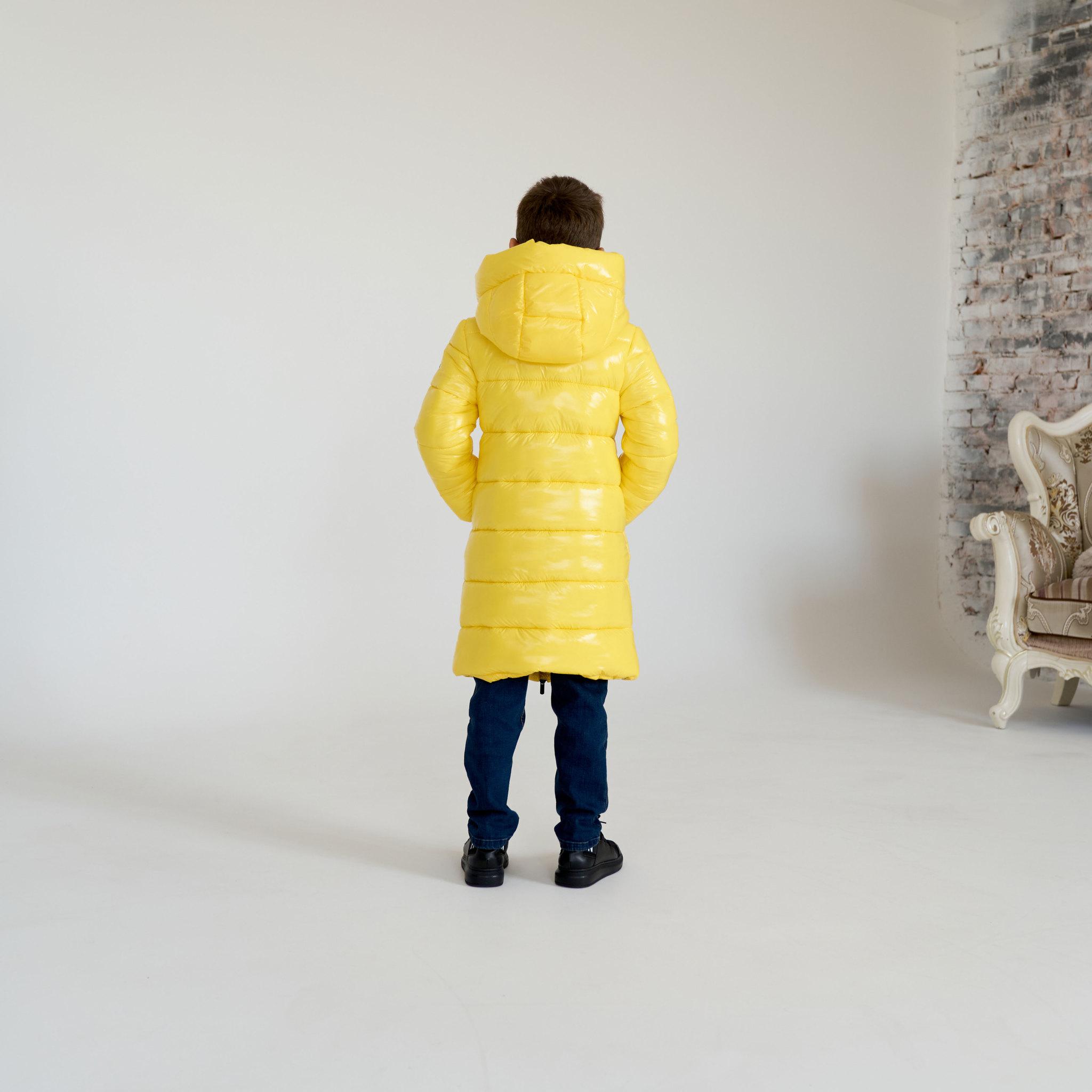 Детское, подростковое зимнее пальто для мальчика в желтом цвете