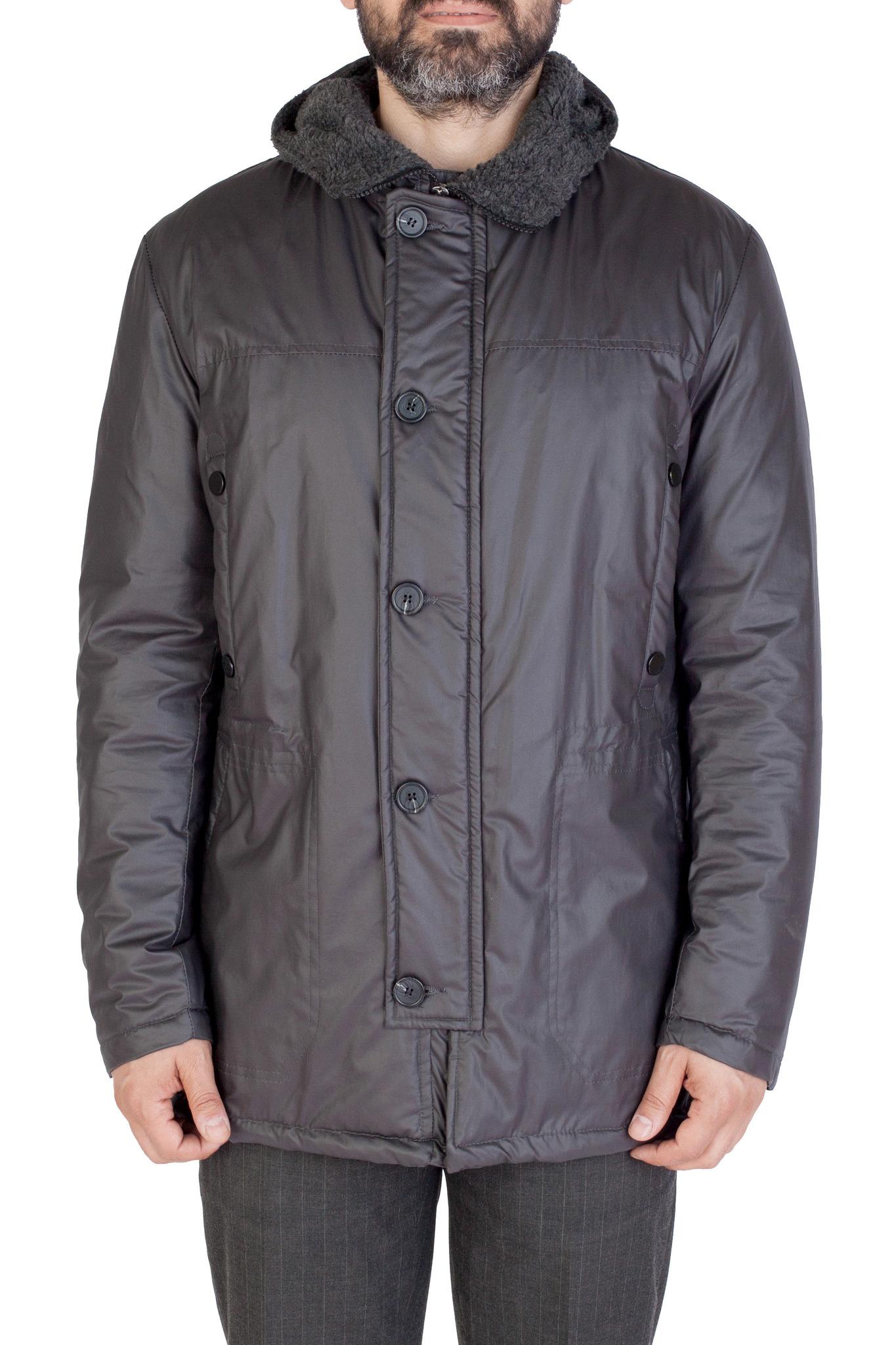 Серо-коричневая хлопковая куртка с капюшоном