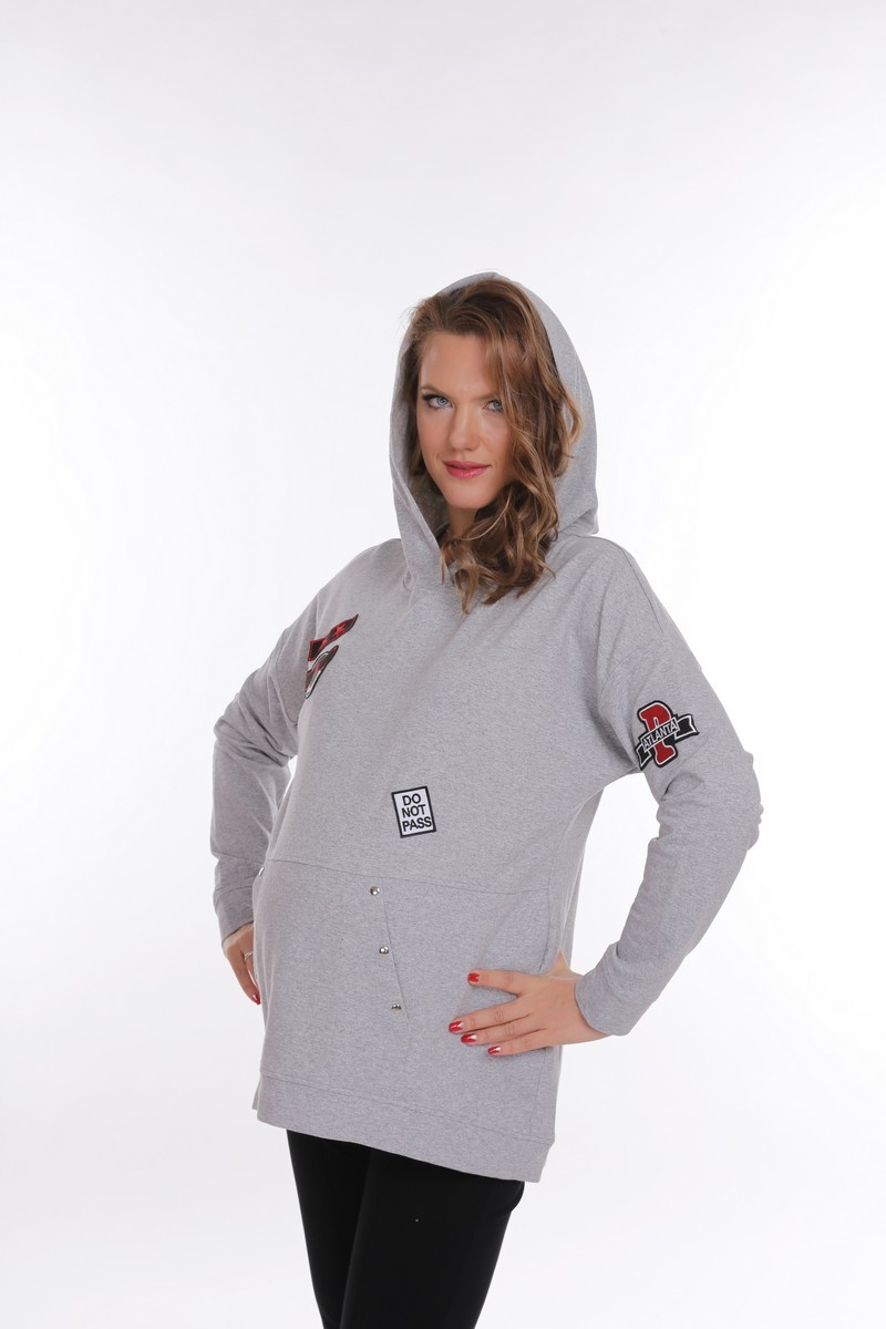 Толстовка для беременных 09160 серый меланж
