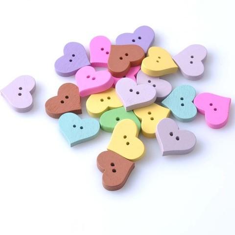 Ґудзики дерев'яні сердечка. Набір ґудзиків.