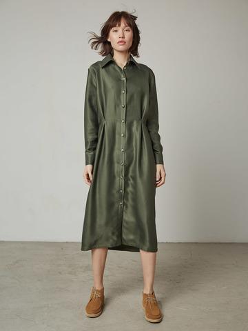Платье-рубашка с защипами из вискозы хаки