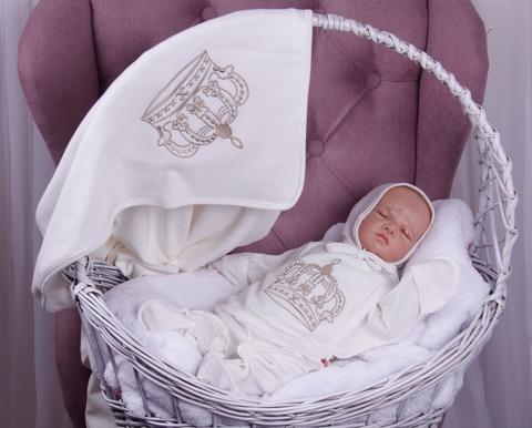 Летний комплект на выписку новорожденных из роддома Queen (молоко)