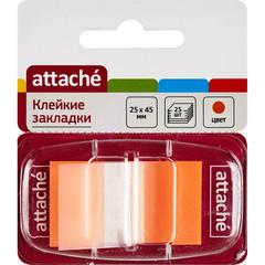 Клейкие закладки Attache пластиковые оранжевые 25 листов 25х45 мм в диспенсере