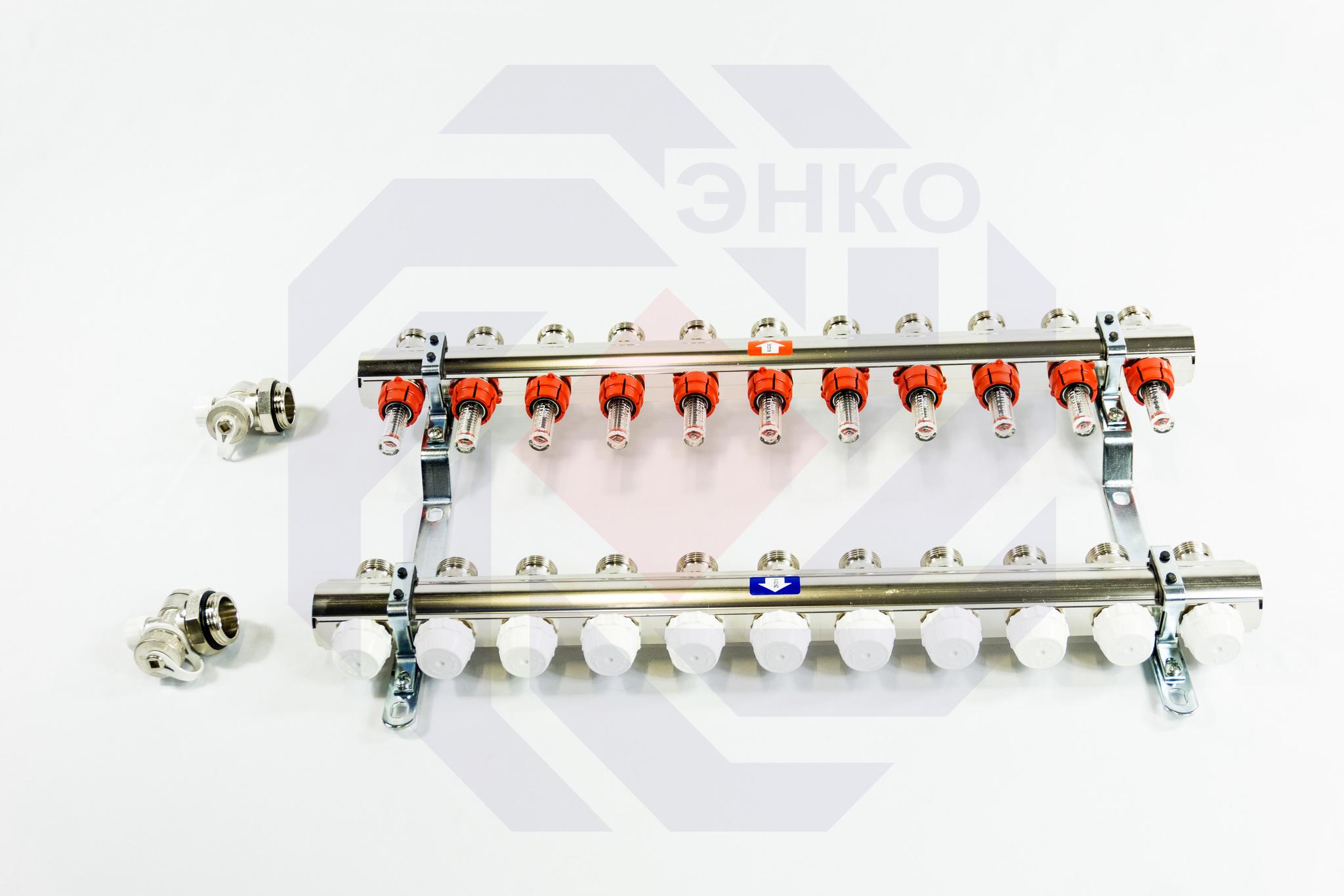 Комплект коллекторов с расходомерами ITAP 916C 11 контуров