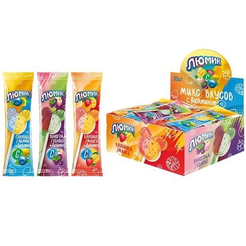 Люмик с витамином С, клубника/манго, голубика/лимон, виноград/яблоко,  3 двойных вкуса в блоке, 1кор*24бл*30шт, 8 гр.