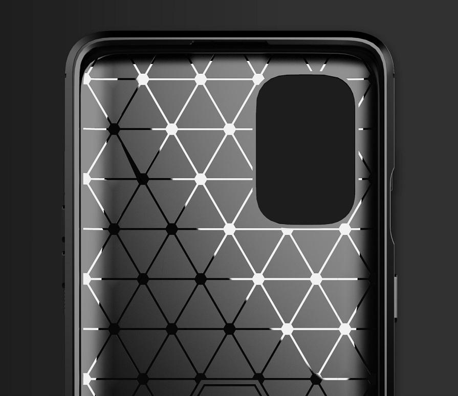 Чехол черного цвета для OnePlus 8T, серии Carbon (в стиле карбон) от Caseport