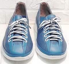Женские кожаные кеды кроссовки на лето casual premium Wollen P029-2096-24 Blue White.