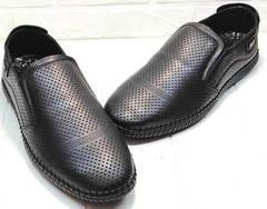 Обувь с перфорацией. Модные мокасины слипоны кожаные мужские city casual Ridge Z-291-80 All Black.
