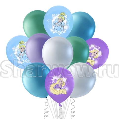Букет из перламутровых шаров и шаров с принцессами Дисней