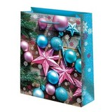 Новогодний подарочный пакет Бирюзовые шары (средний)