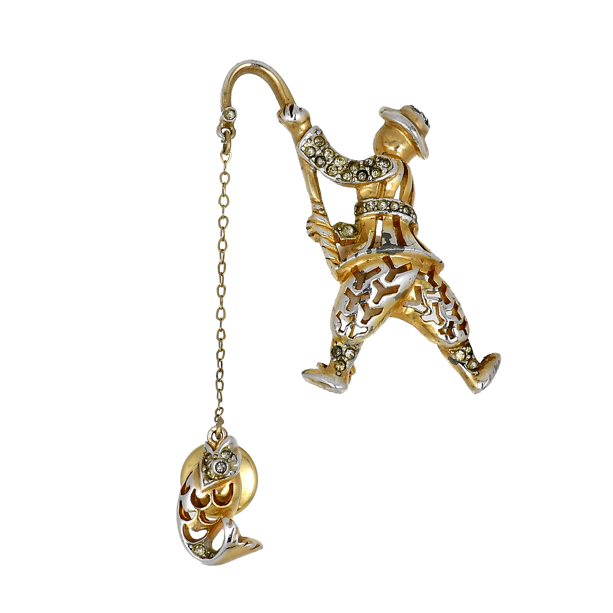 Reja sterling gold-plated chatelaine brooch