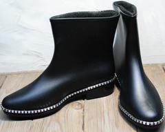 Стильные резиновые сапоги женские низкие Hello Rain Story 1019 Black.