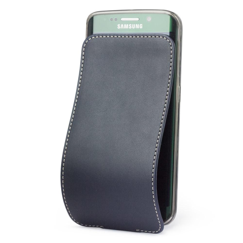 Чехол для Samsung Galaxy S6 edge из натуральной кожи теленка, темно-синего цвета