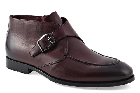 Бордовые классические ботинки  из натуральной кожи на замке