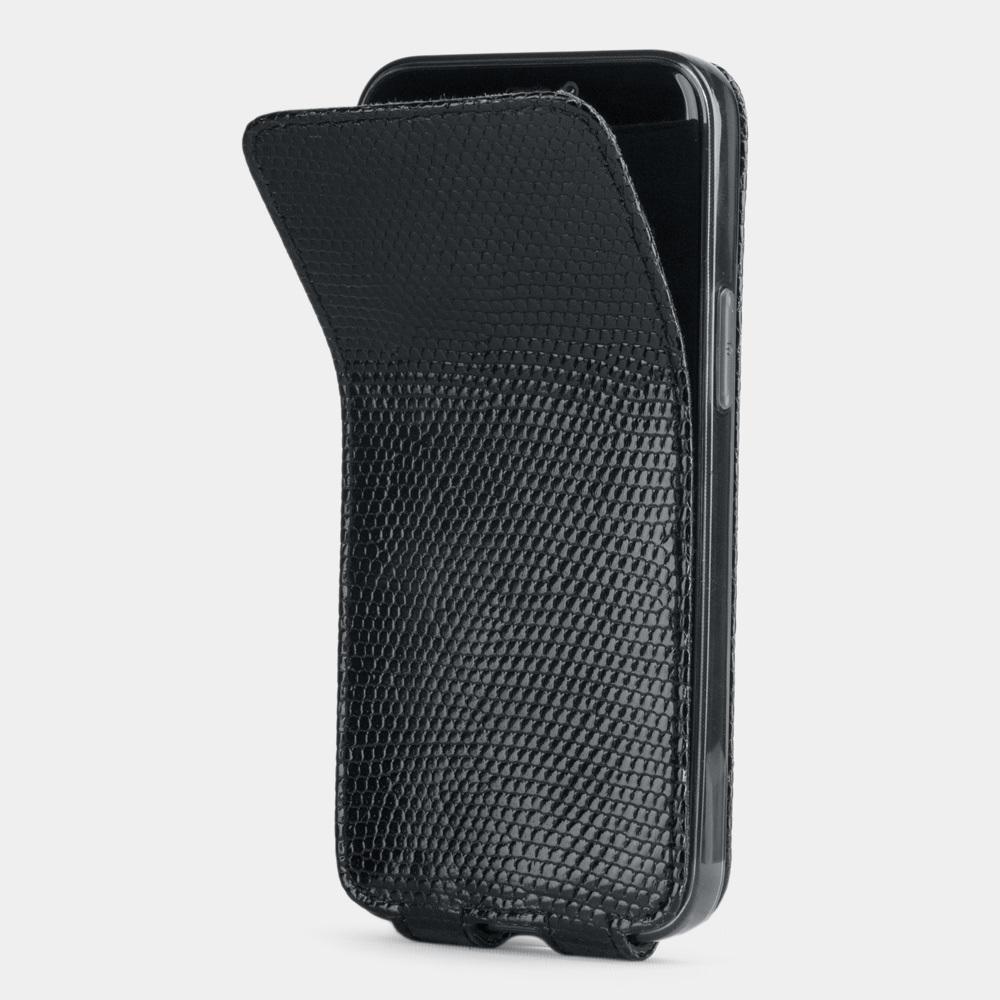 Чехол для iPhone 12 Mini из натуральной кожи ящерицы, цвета черный лак