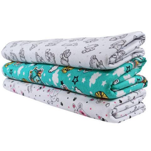 Папитто. Трикотажные пеленки из футера для девочки 120х90 см, 3 шт.