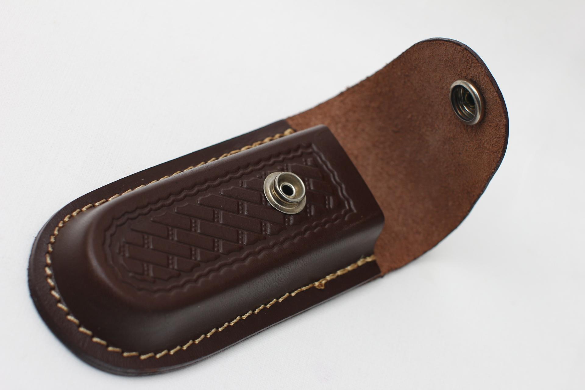 Чехол кожаный коричневый для ножа или мультитула - фотография