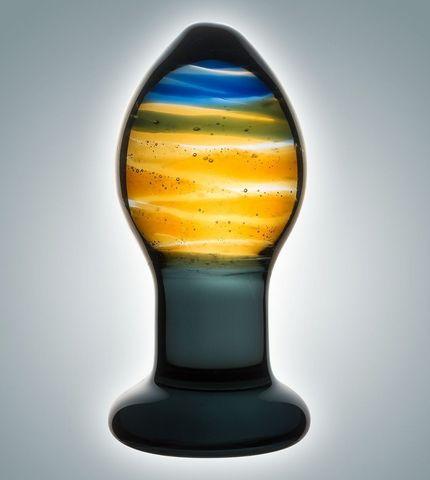 Красивая стеклянная пробка с цветными разводами - 9 см.