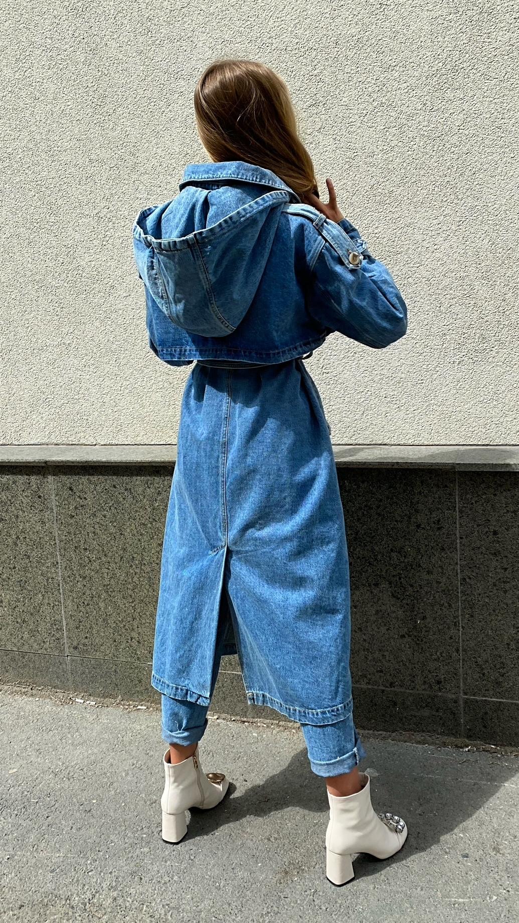 Джинсовый тренч, голубой