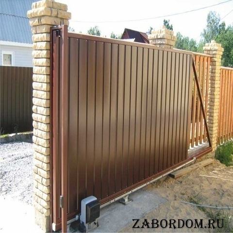 Откатные ворота из профнастила 6000х2000