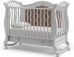 Кровать детская Габриэлла Люкс Плюс колесо-качалка, ящик белая ночь