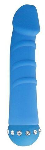 Голубой вибратор SPARKLE SUCCUBI VIBRATING DONG - 14,5 см.