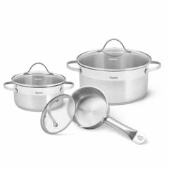 5832 Набор посуды EVITA 6 пр. со стеклянными крышками (нерж. сталь)