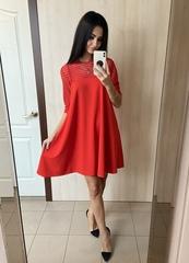 Юна. Яркое платье А-силуэта. Красный