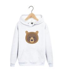 Толстовка белая с капюшоном (худи, кенгуру) 001 и принтом Медведь, Медвежонок (Bear)