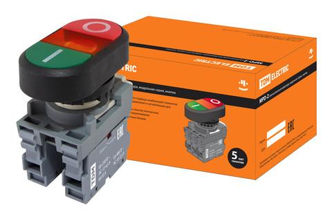 Кнопка двойная MPD2-11R (зеленая/красная) (LED) в сборе d22мм/220В (I/O)  линза красная TDM