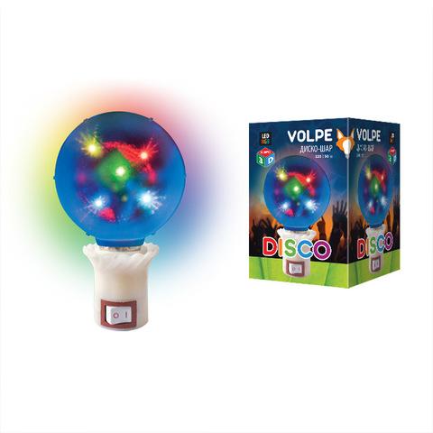 ULI-Q309 1,5W/RGB ДИСКО ШАР 3D Светодиодный светильник. Свечение 3D звёзды. Вилка 220В. Диаметр 8см. ТМ Volpe.