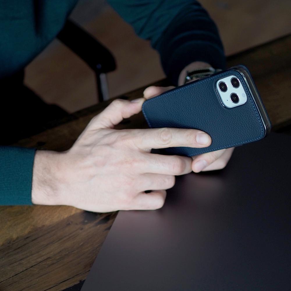 Чехол для iPhone 12 Pro Max из натуральной кожи теленка, цвета синий мат