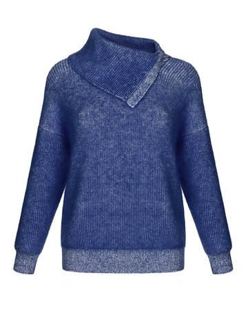 Женский свитер темно-синего цвета из мохера и кашемира - фото 1