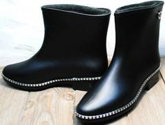 Красивые резиновые сапоги ботинки женские без шнурков Hello Rain Story 1019 Black.