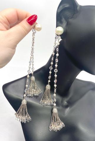 152/0118 - Двойные серьги-кисточки из серебра с жемчугом