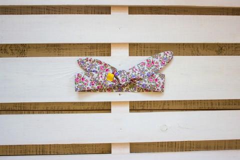 Повязка на голову (солоха) белая в мелкий фиолетовый цветок